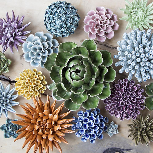 Chive Coral Ceramic Flower Collection