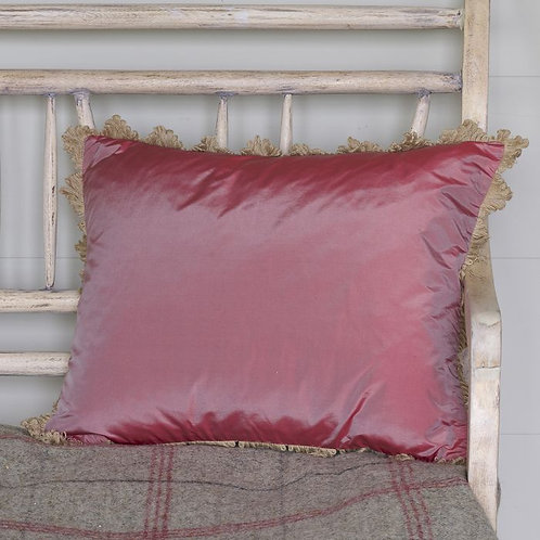 Deep Rose Silk Taffeta Cushion
