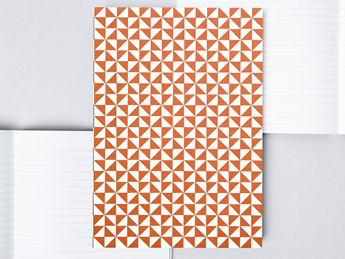 Layflat Notebook Red Kaffe Print - Lined Pages