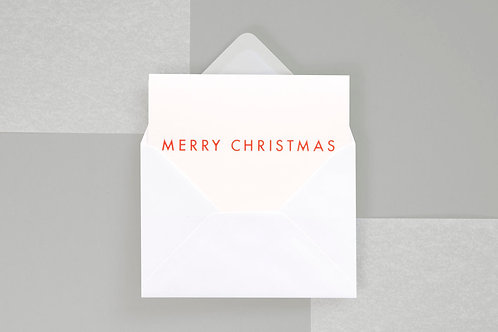 Foil blocked Merry Christmas Card - Neon Orange