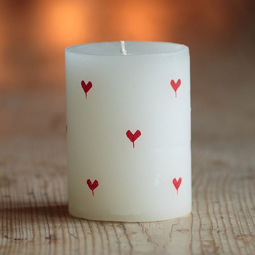 "Red Heart Scented Hand-Painted 4"" Pillar Candle"