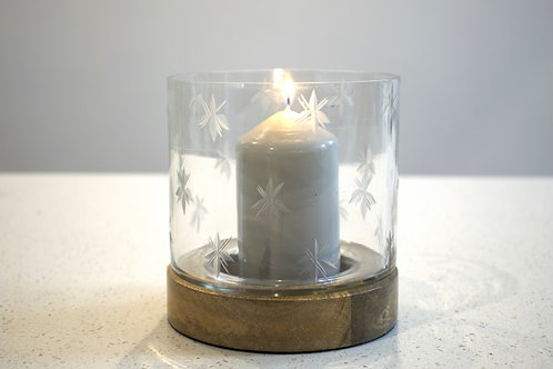 Etched Glass Hurricane Lamp Natural