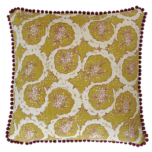 Hand Printed Cushion - Old Gold