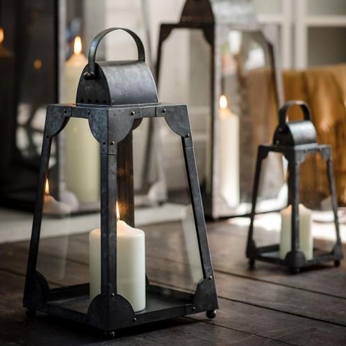 Galvanised Steel Trapezium Lantern - Small