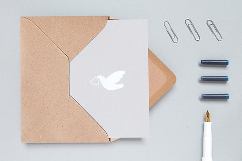 Foil blocked Love Dove Card