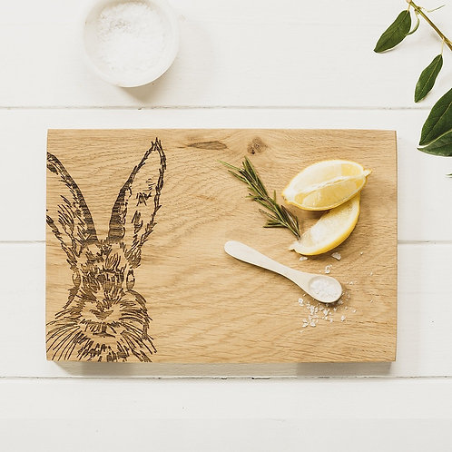 Etched Hare Serving Board