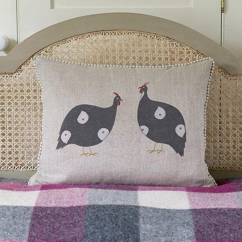 Applique Guinea Fowl Pair Rustic Linen Cushion