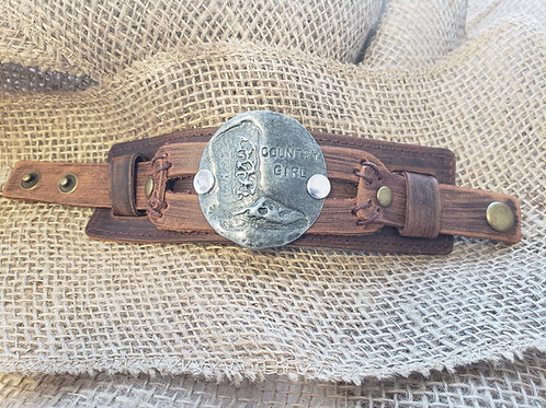 """""""Country Girl"""" Cuff in Antique Silver on Dusty Leather"""