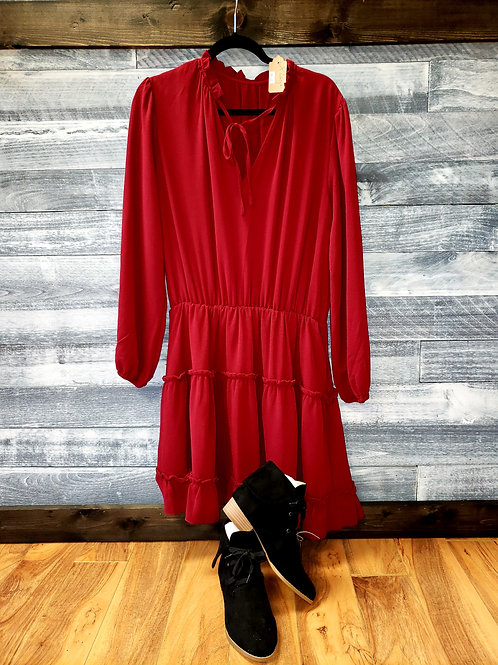 Red Long Sleeved Dresss