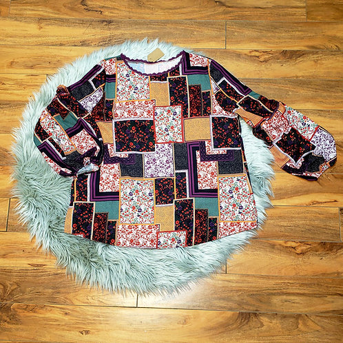 Multi-Pattern Long Sleeve Top