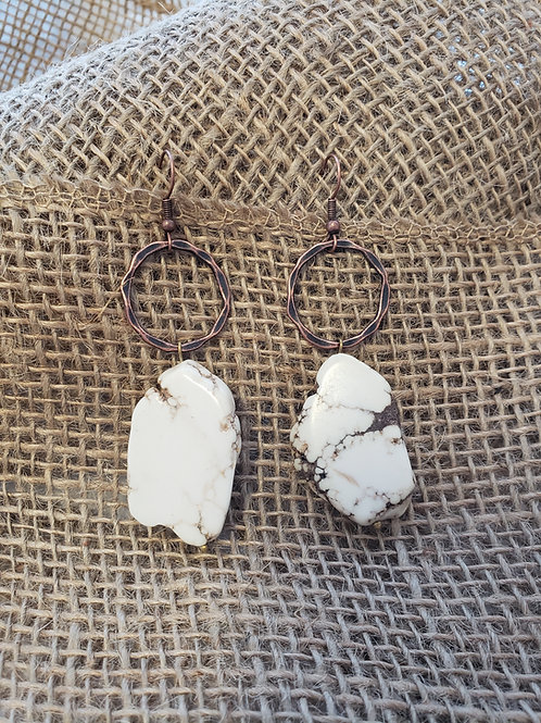White Turquoise Chunk Dangle Earrings with Copper Hoop Connectors