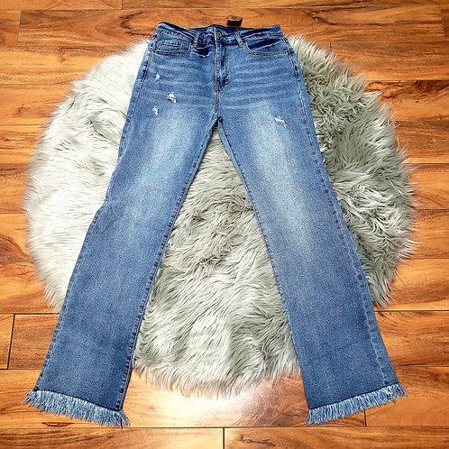 Straight Legged Raw Hem Jeans