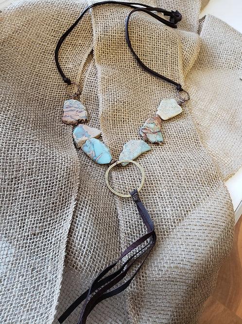 Leather Aqua Terra Slab Necklace with Copper Hoop Fringe Tassel