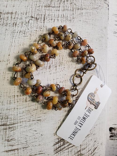 Natural Agate Triple Strand Bracelet