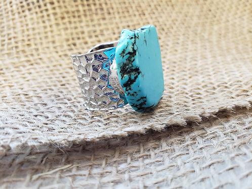Polished Blue Turquoise Slab Cuff Ring