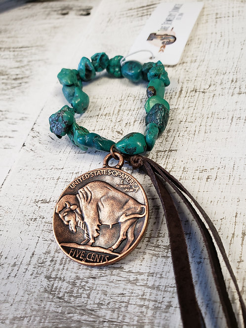 African Turquoise Stretch Bracelet with Copper Indian Head Coin and Tassel