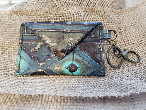 Blue Navajo Leather Credit Card Wallet