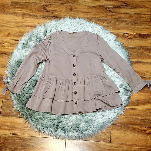 3/4 Length Sleeve Button Up Ruffle Top