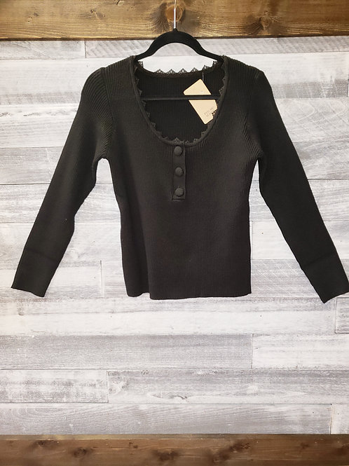 3/4 Length Sleeve Knit Button Top