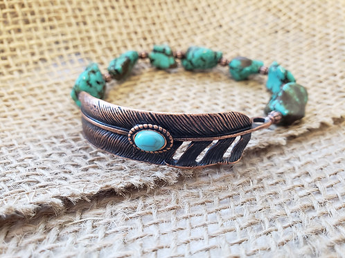 Turquoise and Copper Feather  Stretchy Bracelet