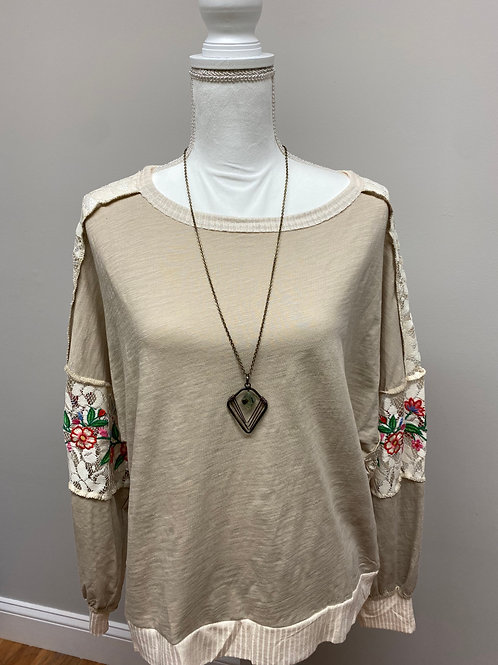 Lace and Floral Embroidered Sweatshirt