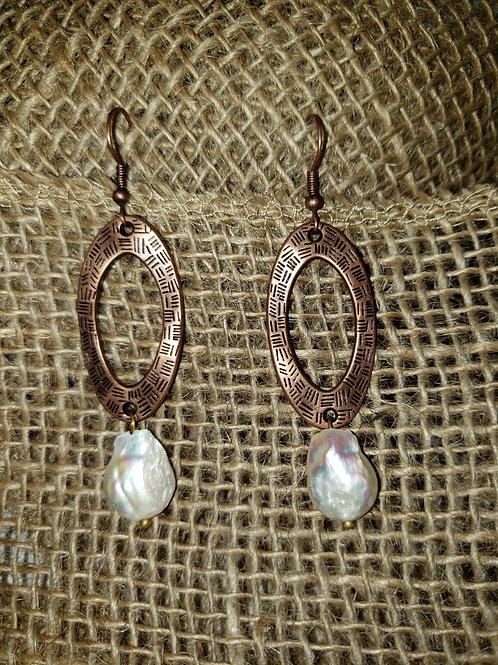 Freshwater Pearl Coin Dangle on Copper Hoop Earrings