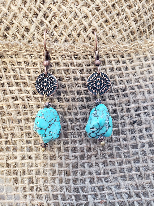 Blue Turquoise Chunk Earing with Copper Connectors