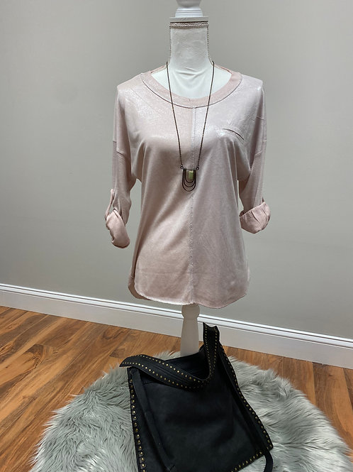 Long Sleeved Shimmery Shirt with 3/4 Button