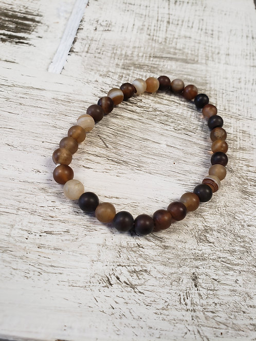 Tumbled Natural Agate Beaded  Stretch Bracelet