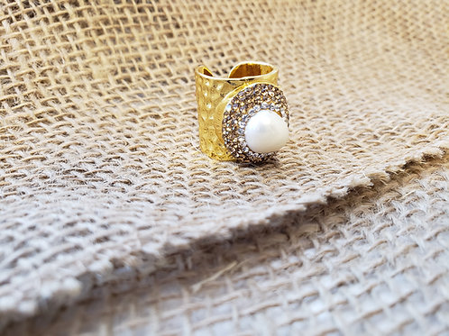Freshwater Pearl Gold Cuff Ring with Jewel Accents
