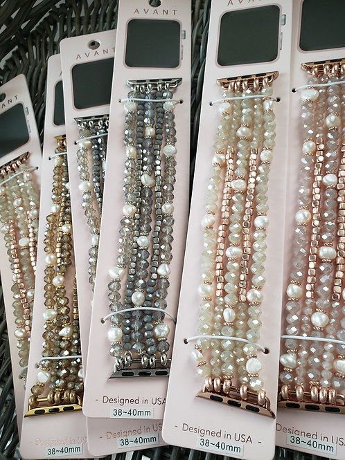 Crystal Beaded with  Freshwater Pearl Apple Watch Band