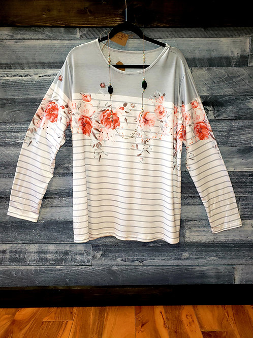 Stripes and Floral Long Sleeve Top