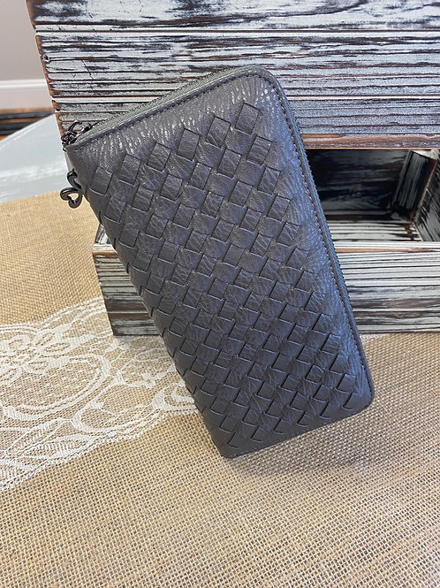 Woven-Look Leather Clutch Wallet