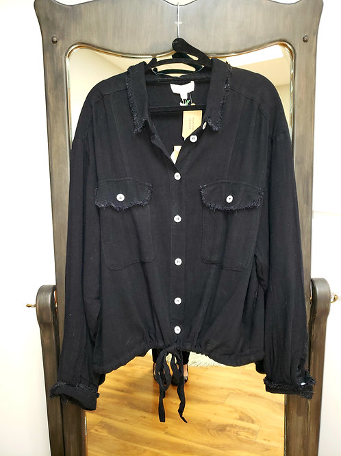 Umgee Black Button Down Longsleeved Top