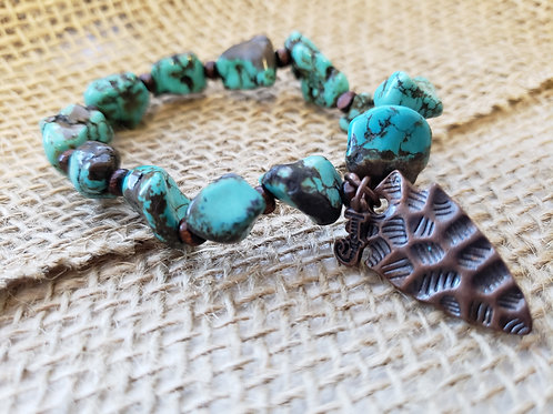 Blue Turquoise Stretchy Bracelet with Copper Arrowhead