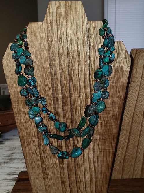 Triple Strand Natural Turquoise & Copper Collar Necklace