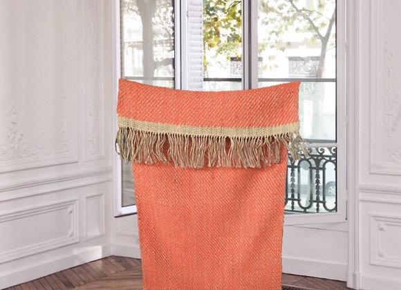 Tapis artisanal chanvre et laine orange - Blanc Bohème