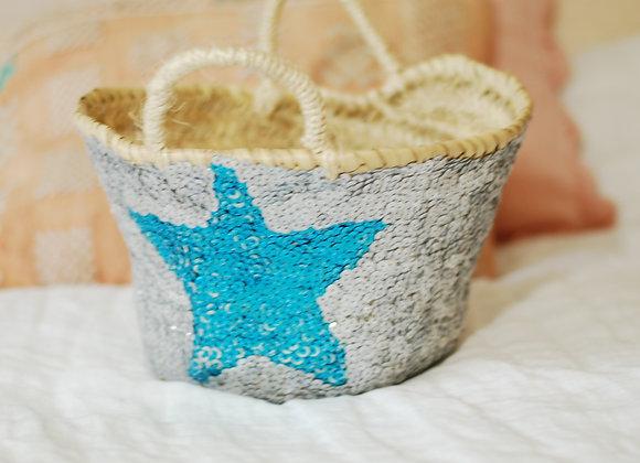 Panier Paillettes étoile bleue