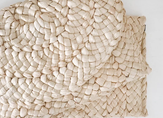 Pochette en paille tressée naturelle - Blanc Bohème