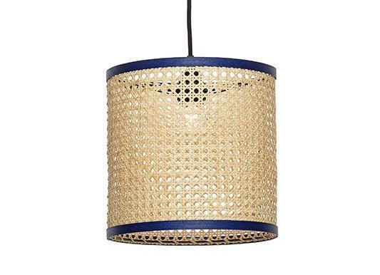 Luminaire cannage et ganse bleu marine - Unum design - Blanc Bohème