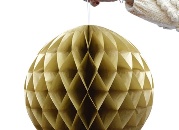 Boule dorée en papier alvéolé - Blanc Bohème