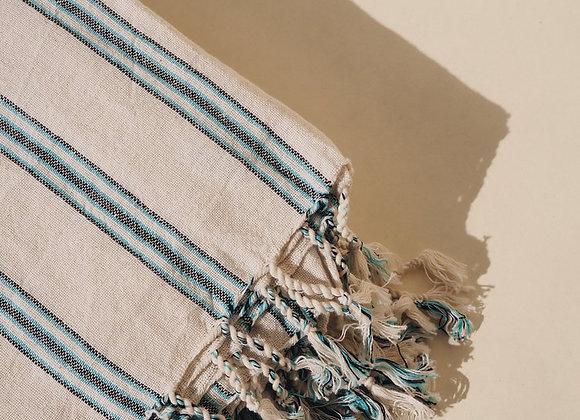 Drap de plage / foutah turquoie, coton