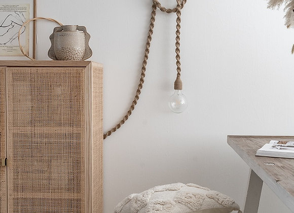 Lampe macramé sable - Blanc Bohème