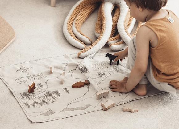 Set de jeu, animaux de la ferme en bois - Blanc Bohème
