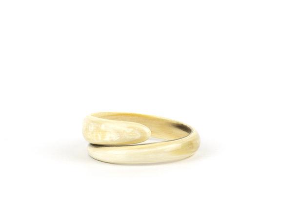 Bracelet en corne blonde - Blanc Bohème
