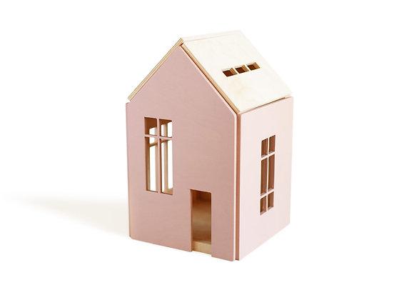 Grande maison en bois aimanté rose - Sélection Blanc Bohème