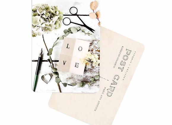 carte postale vintage et poétique  : LOVE