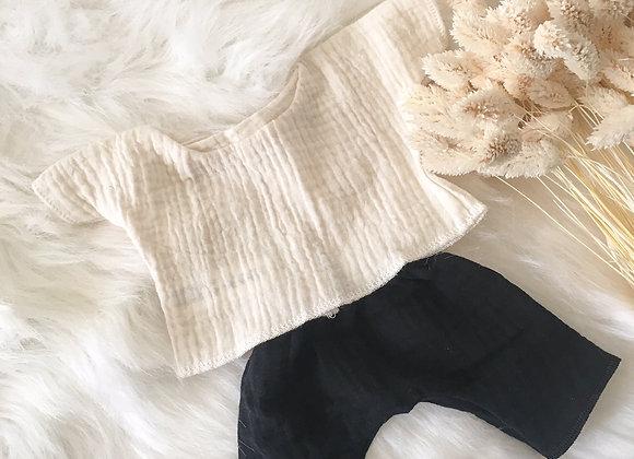 Ensemble Pantalon Noir et Top Blanc cassé
