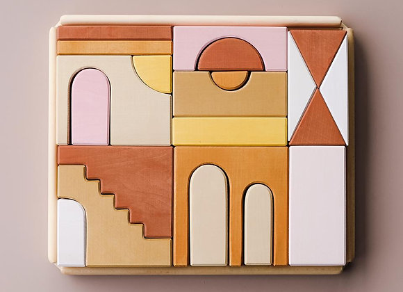 Jeu de construction, cubes en bois : Raduga grez - Blanc Bohème