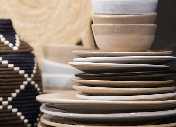 Bol en céramique naturel et blanc - Artisanat marocain - Blanc Bohème